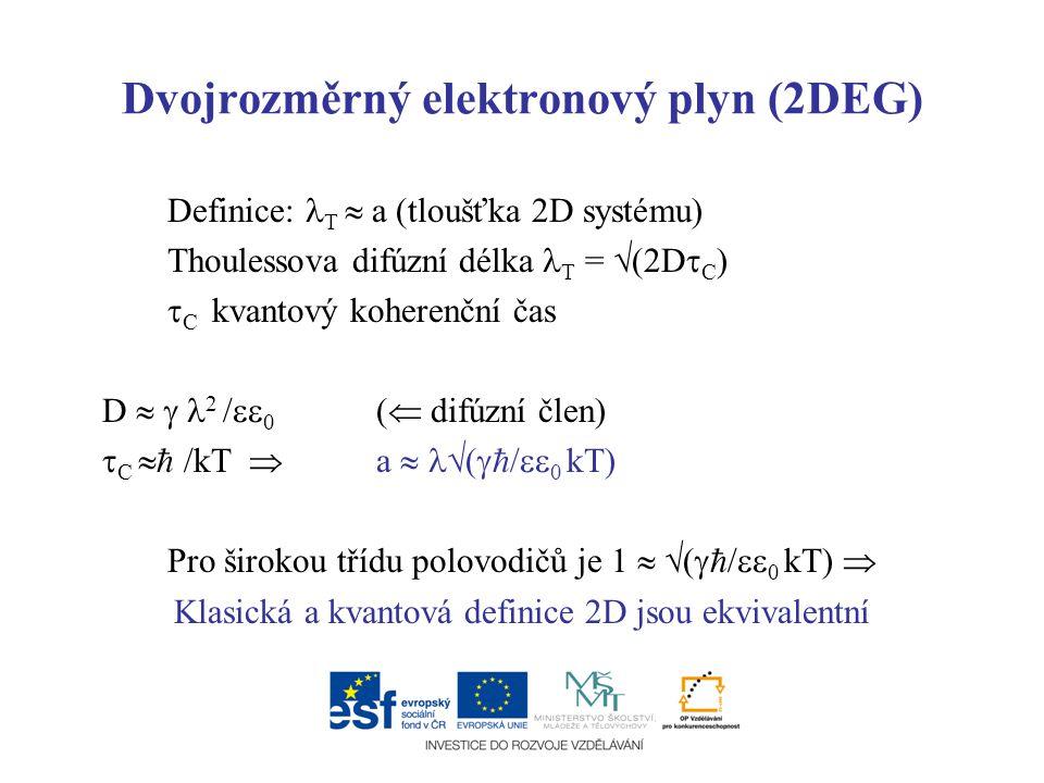 Dvojrozměrný elektronový plyn (2DEG) Definice: T  a (tloušťka 2D systému) Thoulessova difúzní délka T =  (2D  C )  C kvantový koherenční čas D  