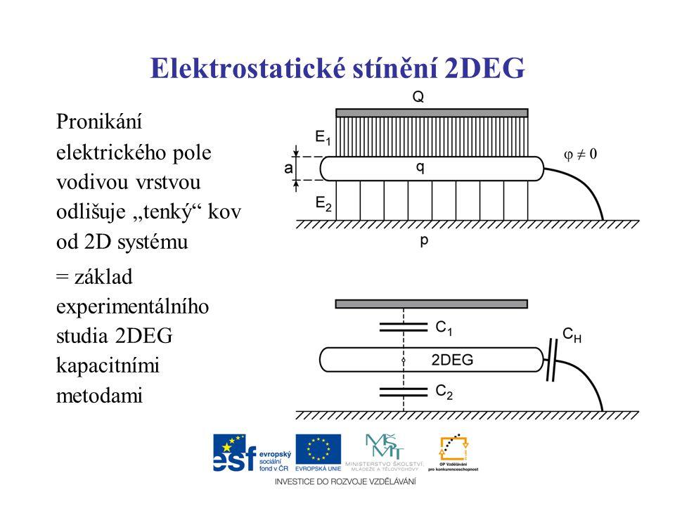 """Elektrostatické stínění 2DEG Pronikání elektrického pole vodivou vrstvou odlišuje """"tenký"""" kov od 2D systému = základ experimentálního studia 2DEG kapa"""