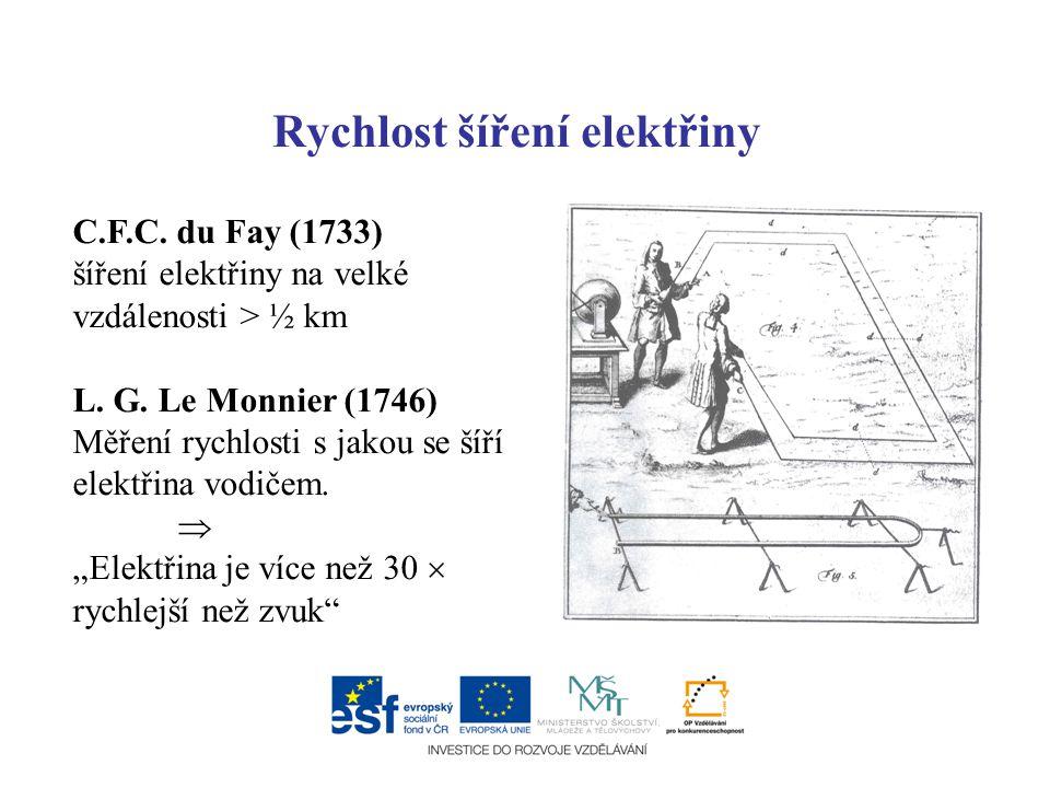 Rychlost šíření elektřiny C.F.C. du Fay (1733) šíření elektřiny na velké vzdálenosti > ½ km L. G. Le Monnier (1746) Měření rychlosti s jakou se šíří e