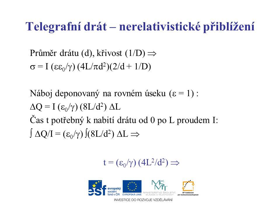 Telegrafní drát – nerelativistické přiblížení Průměr drátu (d), křivost (1/D)   = I (  0 /  ) (4L/  d 2 )(2/d + 1/D) Náboj deponovaný na rovném