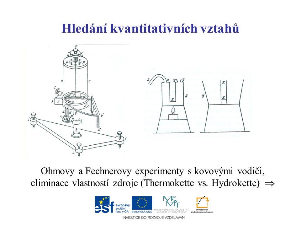 Hledání kvantitativních vztahů Ohmovy a Fechnerovy experimenty s kovovými vodiči, eliminace vlastností zdroje (Thermokette vs. Hydrokette) 