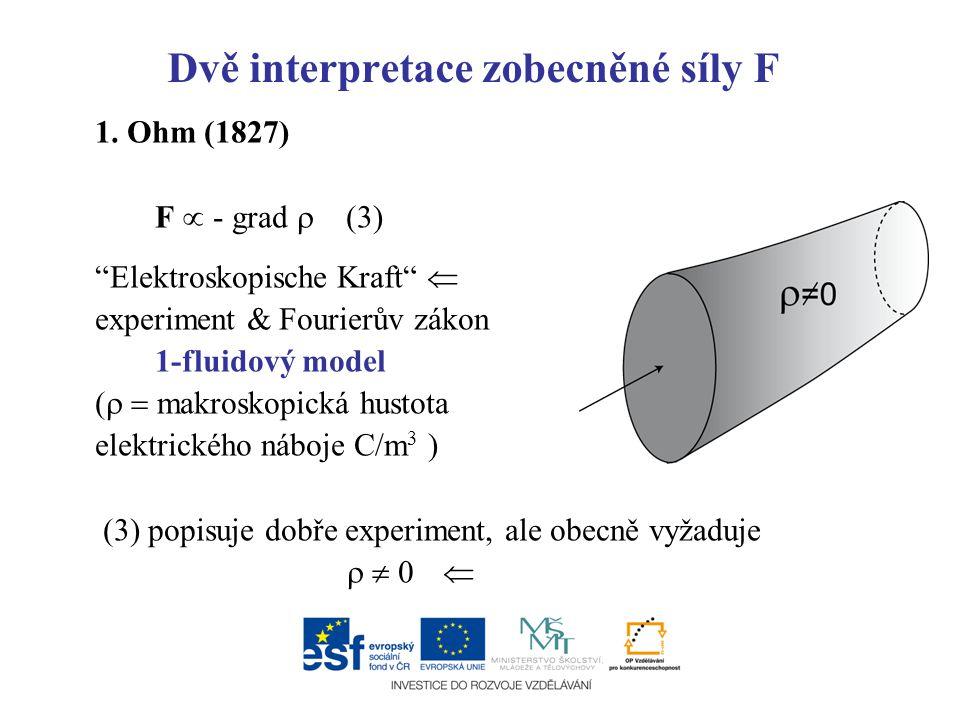 """Dvě interpretace zobecněné síly F 1. Ohm (1827) F  - grad  (3) """"Elektroskopische Kraft""""  experiment & Fourierův zákon 1-fluidový model (   makros"""
