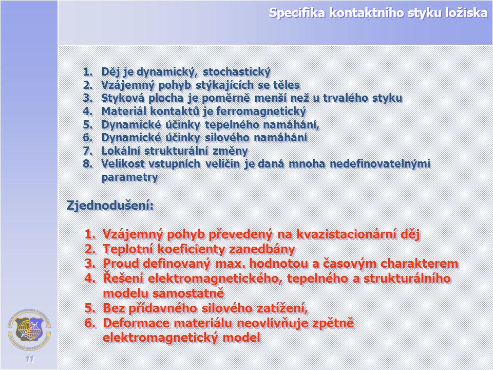 11 Specifika kontaktního styku ložiska 1.Děj je dynamický, stochastický 2.Vzájemný pohyb stýkajících se těles 3.Styková plocha je poměrně menší než u
