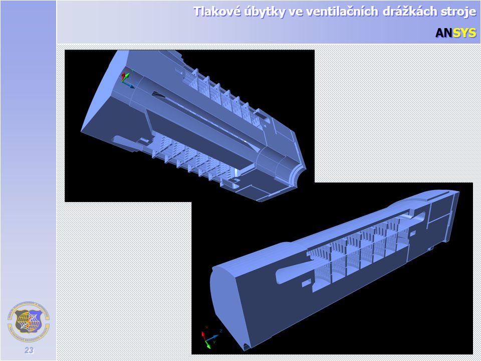23 Tlakové úbytky ve ventilačních drážkách stroje ANSYS Tlakové úbytky ve ventilačních drážkách stroje ANSYS