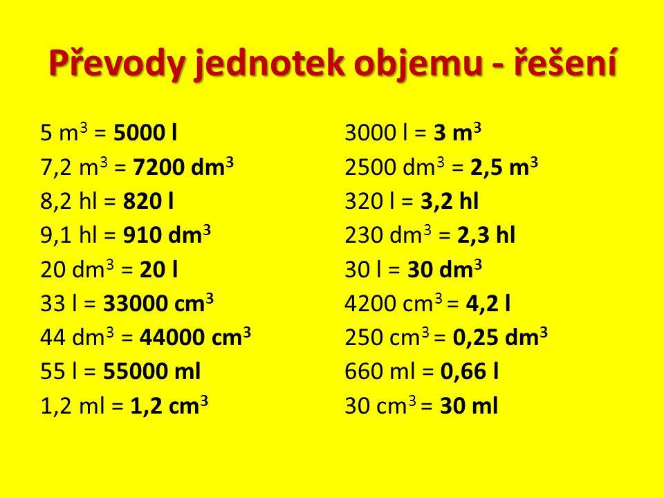 Převody jednotek objemu - řešení 5 m 3 = 5000 l 7,2 m 3 = 7200 dm 3 8,2 hl = 820 l 9,1 hl = 910 dm 3 20 dm 3 = 20 l 33 l = 33000 cm 3 44 dm 3 = 44000