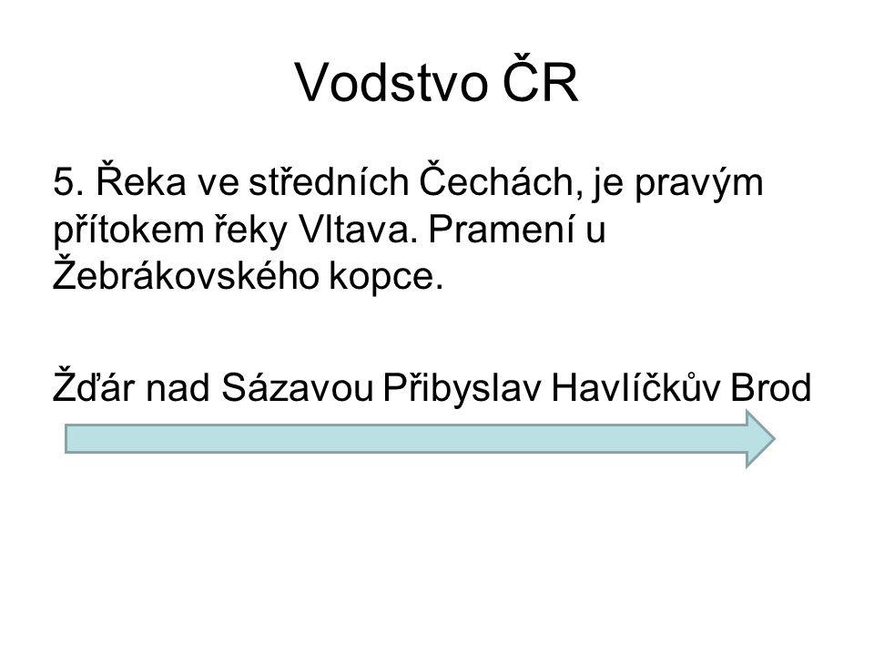Vodstvo ČR 5. Řeka ve středních Čechách, je pravým přítokem řeky Vltava.