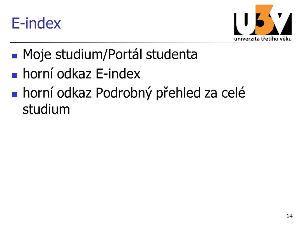 14 E-index Moje studium/Portál studenta horní odkaz E-index horní odkaz Podrobný přehled za celé studium