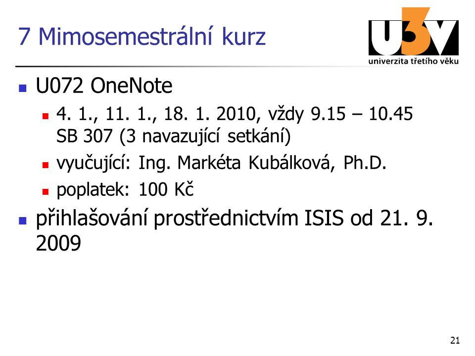 21 7 Mimosemestrální kurz U072 OneNote 4.1., 11. 1., 18.