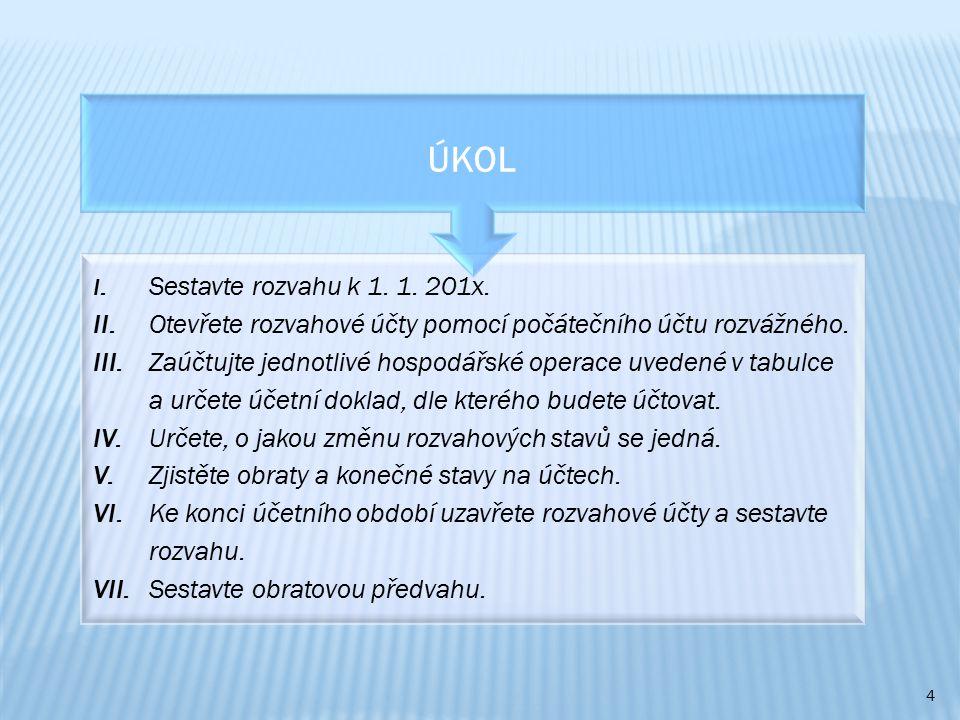 5 ČísloHospodářská operaceČástka v Kč Účetní doklad: Rozvahová změna 1.