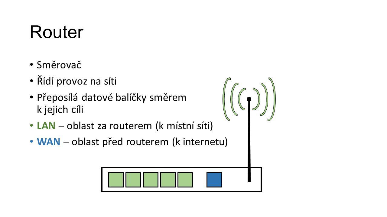 Router Směrovač Řídí provoz na síti Přeposílá datové balíčky směrem k jejich cíli LAN – oblast za routerem (k místní síti) WAN – oblast před routerem