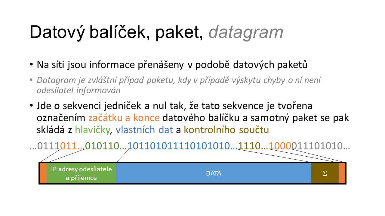 Datový balíček, paket, datagram Na síti jsou informace přenášeny v podobě datových paketů Datagram je zvláštní případ paketu, kdy v případě výskytu ch