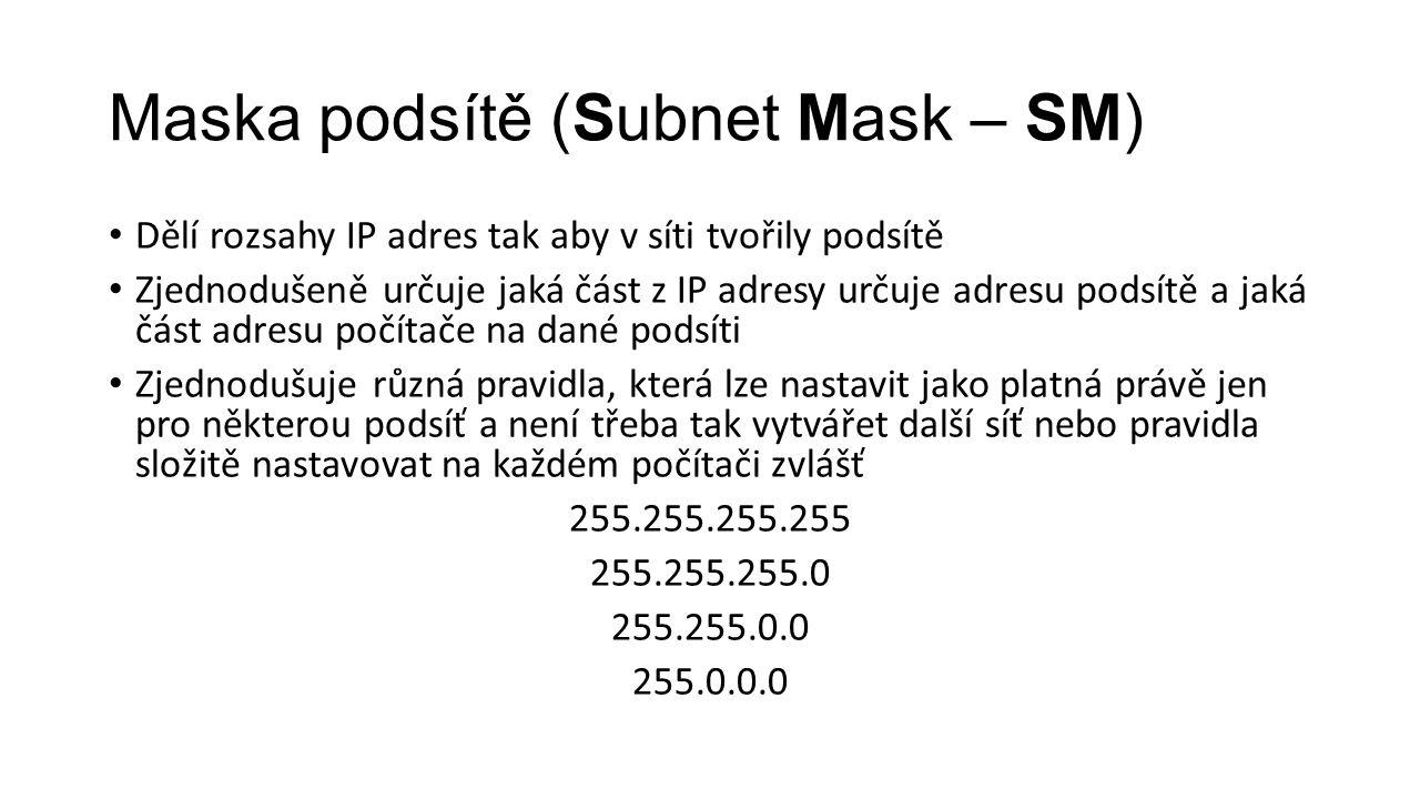 Maska podsítě (Subnet Mask – SM) Dělí rozsahy IP adres tak aby v síti tvořily podsítě Zjednodušeně určuje jaká část z IP adresy určuje adresu podsítě
