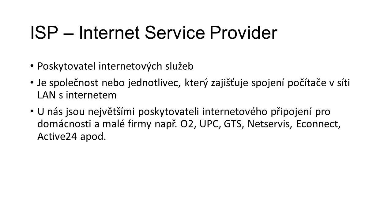 ISP – Internet Service Provider Poskytovatel internetových služeb Je společnost nebo jednotlivec, který zajišťuje spojení počítače v síti LAN s intern