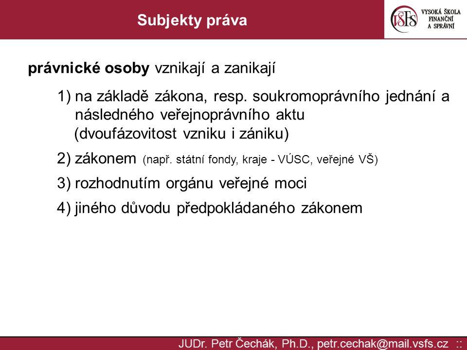 JUDr. Petr Čechák, Ph.D., petr.cechak@mail.vsfs.cz :: Subjekty práva právnické osoby vznikají a zanikají 1) na základě zákona, resp. soukromoprávního