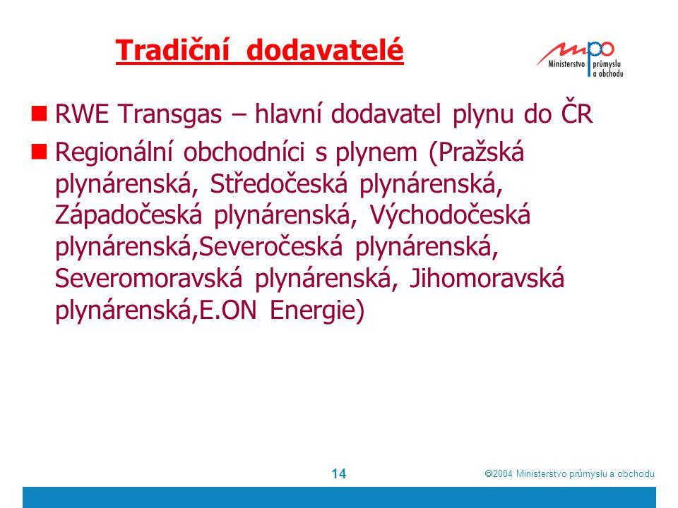  2004  Ministerstvo průmyslu a obchodu 14 Tradiční dodavatelé RWE Transgas – hlavní dodavatel plynu do ČR Regionální obchodníci s plynem (Pražská plynárenská, Středočeská plynárenská, Západočeská plynárenská, Východočeská plynárenská,Severočeská plynárenská, Severomoravská plynárenská, Jihomoravská plynárenská,E.ON Energie)