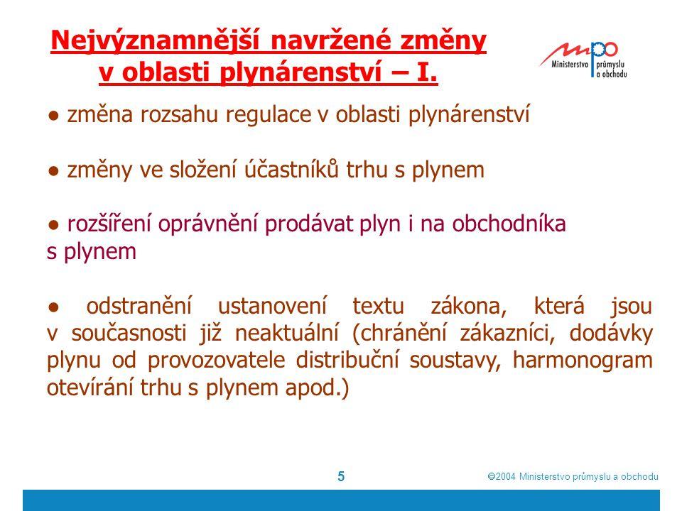  2004  Ministerstvo průmyslu a obchodu 5 Nejvýznamnější navržené změny v oblasti plynárenství – I.