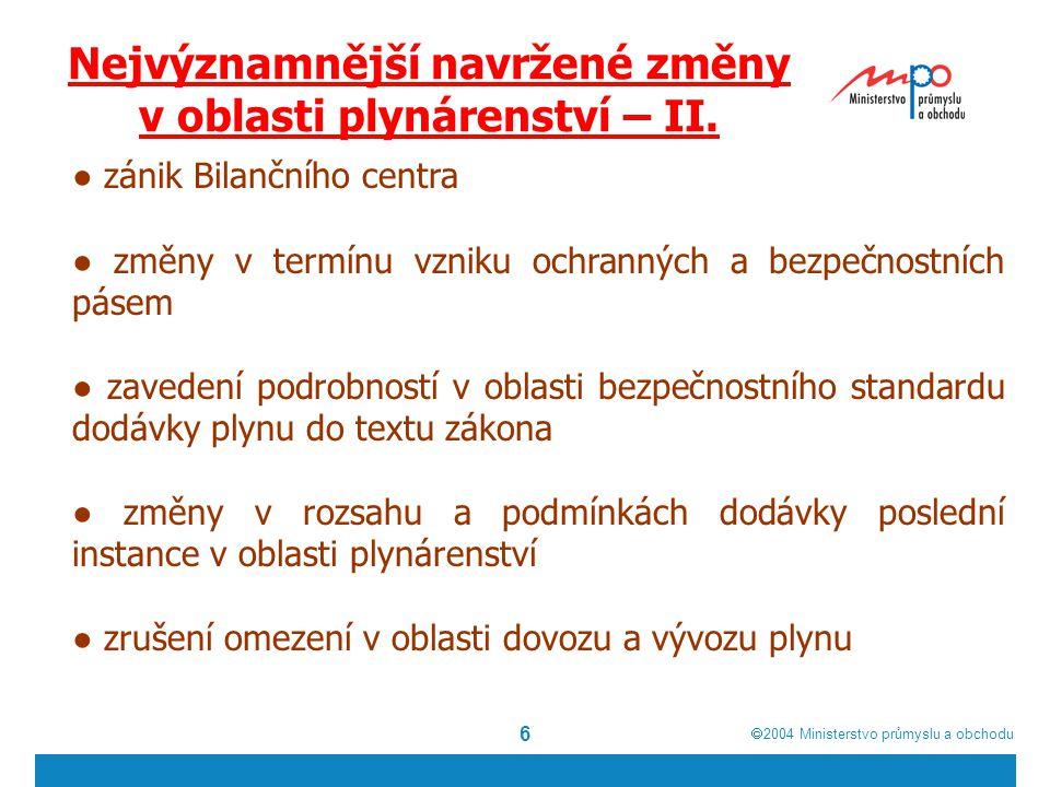  2004  Ministerstvo průmyslu a obchodu 6 Nejvýznamnější navržené změny v oblasti plynárenství – II.