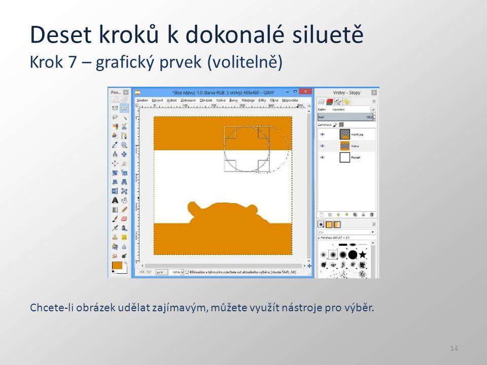 Deset kroků k dokonalé siluetě Krok 7 – grafický prvek (volitelně) Chcete-li obrázek udělat zajímavým, můžete využít nástroje pro výběr. 14