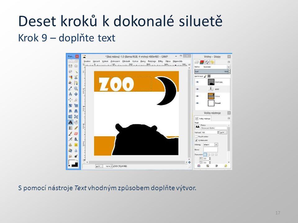 Deset kroků k dokonalé siluetě Krok 9 – doplňte text S pomocí nástroje Text vhodným způsobem doplňte výtvor. 17