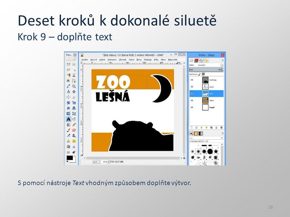 Deset kroků k dokonalé siluetě Krok 9 – doplňte text S pomocí nástroje Text vhodným způsobem doplňte výtvor. 18