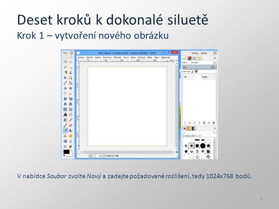 Deset kroků k dokonalé siluetě Krok 1 – vytvoření nového obrázku V nabídce Soubor zvolte Nový a zadejte požadované rozlišení, tedy 1024x768 bodů. 5