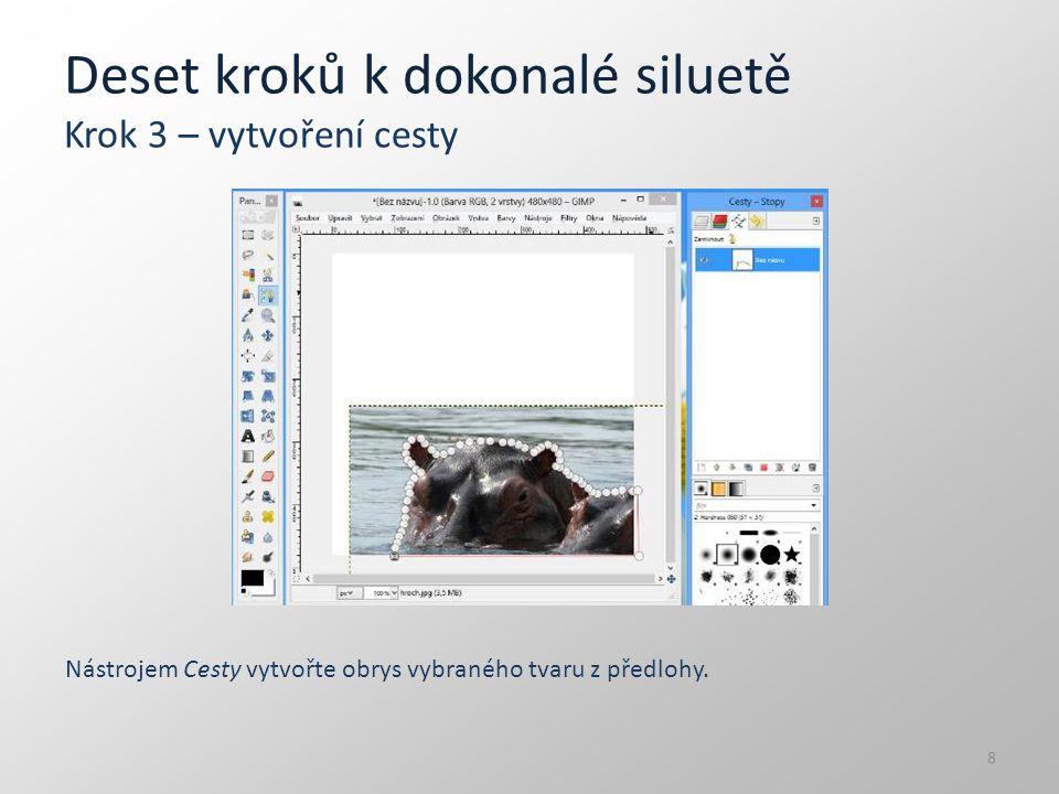 Deset kroků k dokonalé siluetě Krok 10 – uložení V nabídce Soubor vyberte položku Exportovat a obrázek uložte jako soubor h:/skolni/obrazky/silueta.jpg.