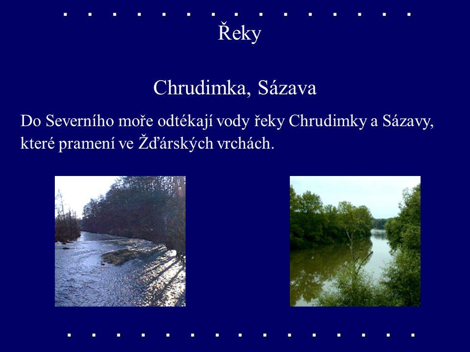 Řeky Chrudimka, Sázava Do Severního moře odtékají vody řeky Chrudimky a Sázavy, které pramení ve Žďárských vrchách.