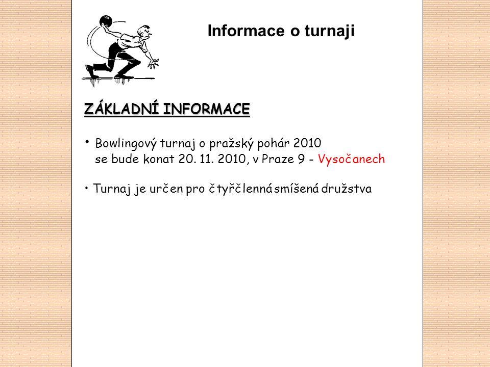 Informace o turnaji ZÁKLADNÍ INFORMACE Bowlingový turnaj o pražský pohár 2010 se bude konat 20.