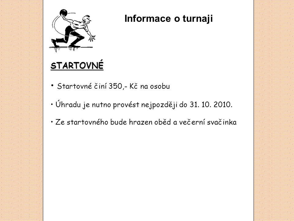 Informace o turnaji STARTOVNÉ Startovné činí 350,- Kč na osobu Úhradu je nutno provést nejpozději do 31.