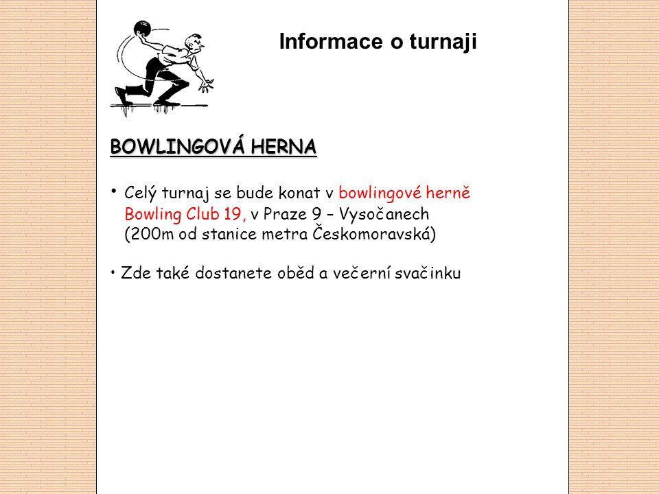 Informace o turnaji BOWLINGOVÁ HERNA Celý turnaj se bude konat v bowlingové herně Bowling Club 19, v Praze 9 – Vysočanech (200m od stanice metra Českomoravská) Zde také dostanete oběd a večerní svačinku