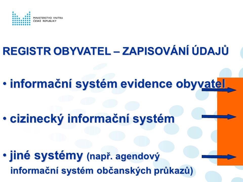 REGISTR OBYVATEL – ZAPISOVÁNÍ ÚDAJŮ informační systém evidence obyvatelinformační systém evidence obyvatel cizinecký informační systémcizinecký inform