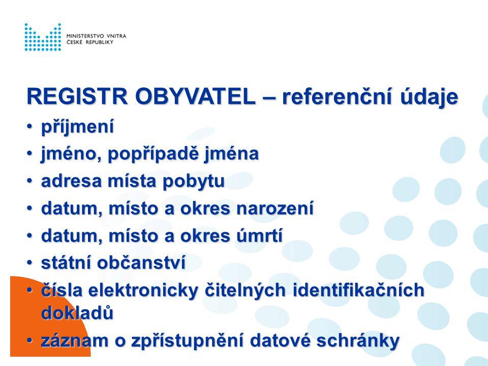 REGISTR OBYVATEL – referenční údaje příjmenípříjmení jméno, popřípadě jménajméno, popřípadě jména adresa místa pobytuadresa místa pobytu datum, místo