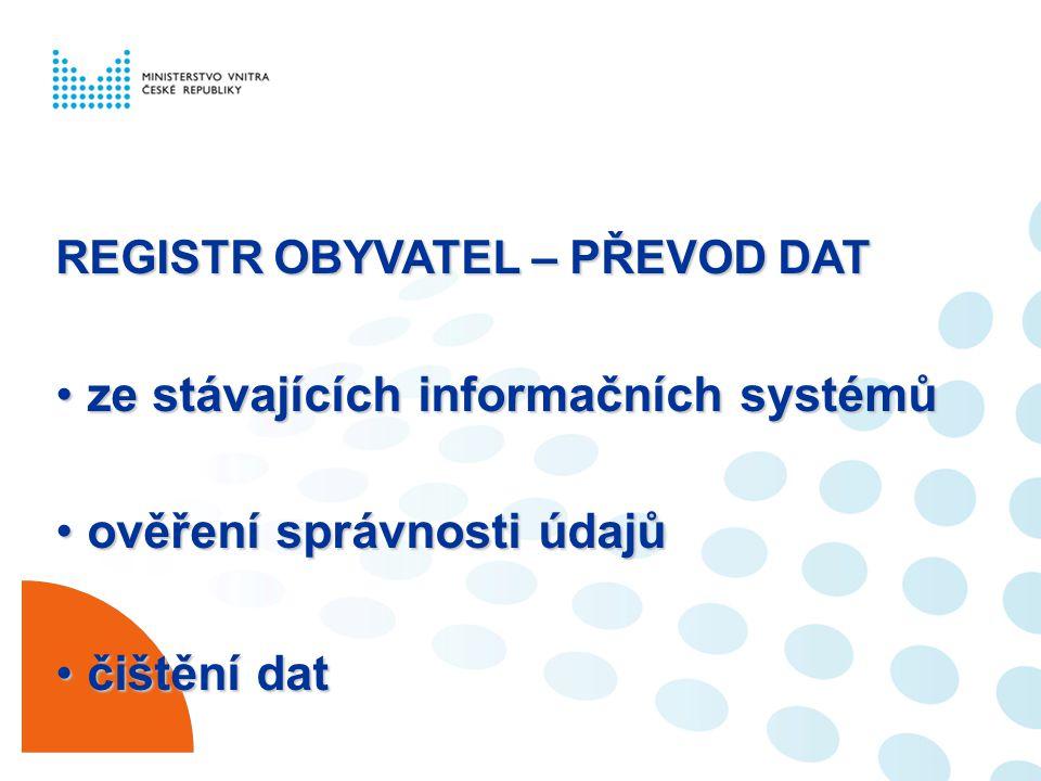 REGISTR OBYVATEL – PŘEVOD DAT ze stávajících informačních systémůze stávajících informačních systémů ověření správnosti údajůověření správnosti údajů