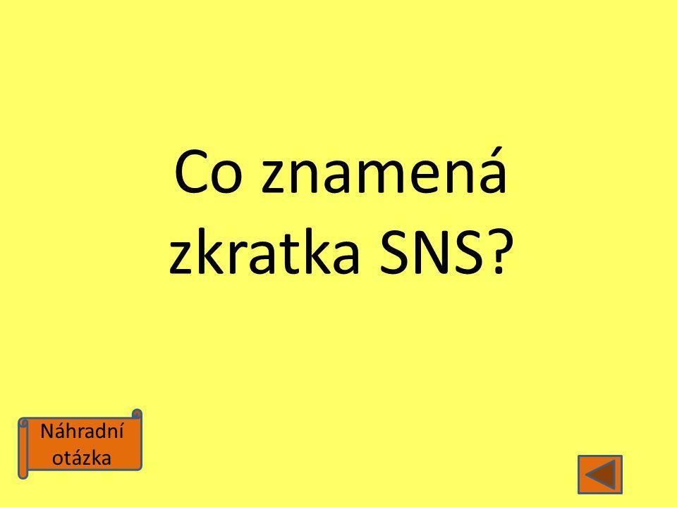 Náhradní otázka Co znamená zkratka SNS?