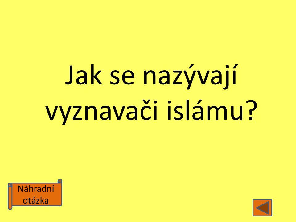 Náhradní otázka Jak se nazývají vyznavači islámu?