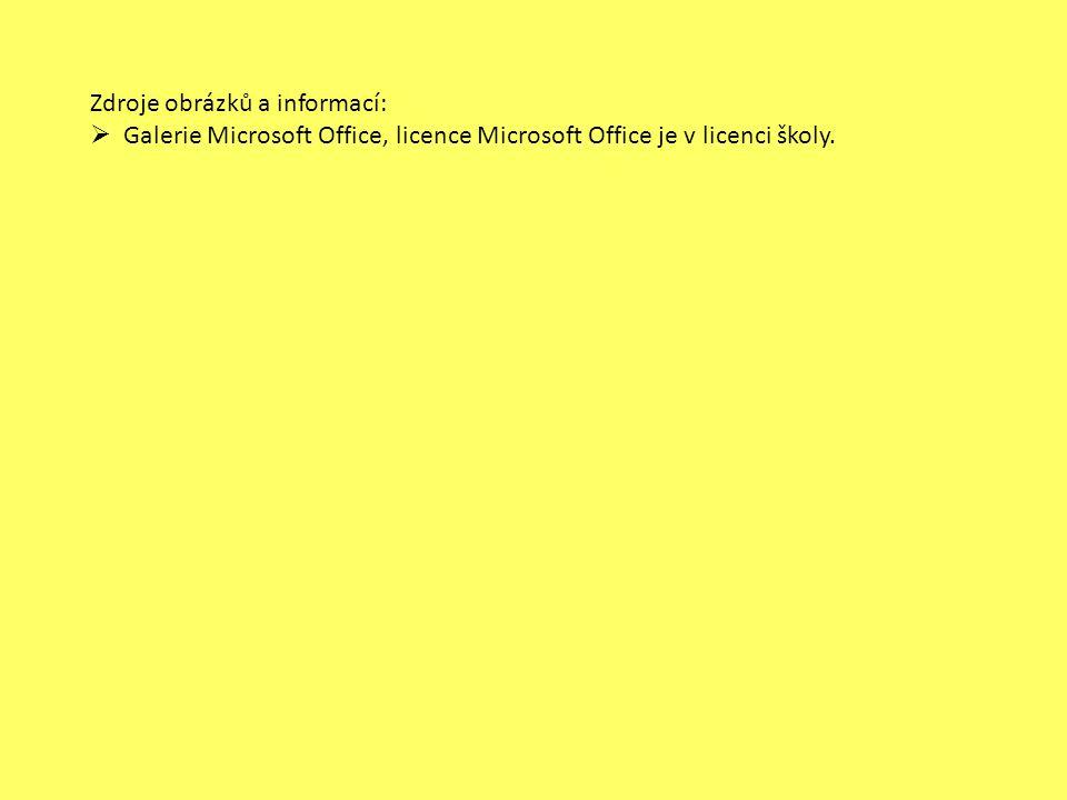 Zdroje obrázků a informací:  Galerie Microsoft Office, licence Microsoft Office je v licenci školy.