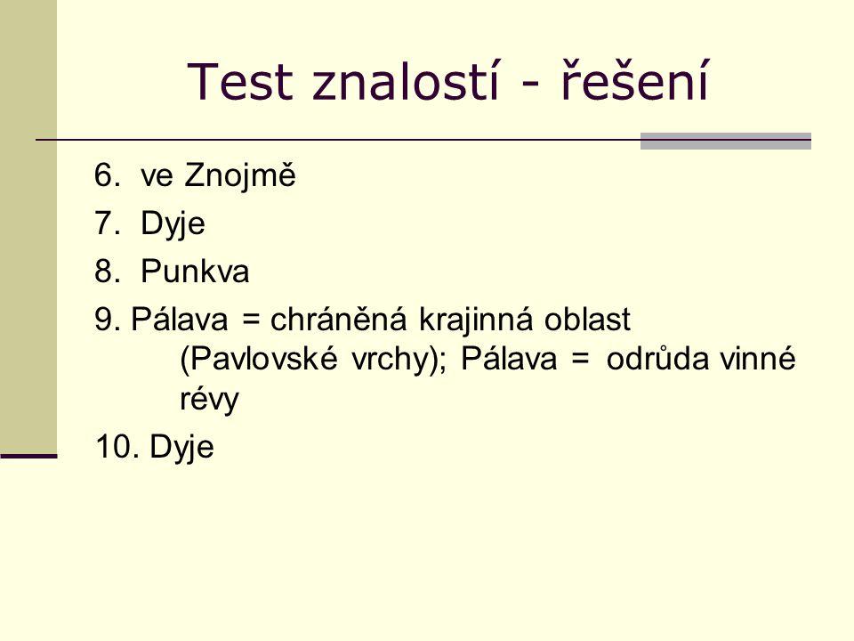 Test znalostí - řešení 6. ve Znojmě 7. Dyje 8. Punkva 9. Pálava = chráněná krajinná oblast (Pavlovské vrchy); Pálava = odrůda vinné révy 10. Dyje