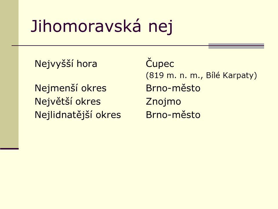 Jihomoravská nej Nejvyšší horaČupec (819 m. n. m., Bílé Karpaty) Nejmenší okresBrno-město Největší okresZnojmo Nejlidnatější okresBrno-město