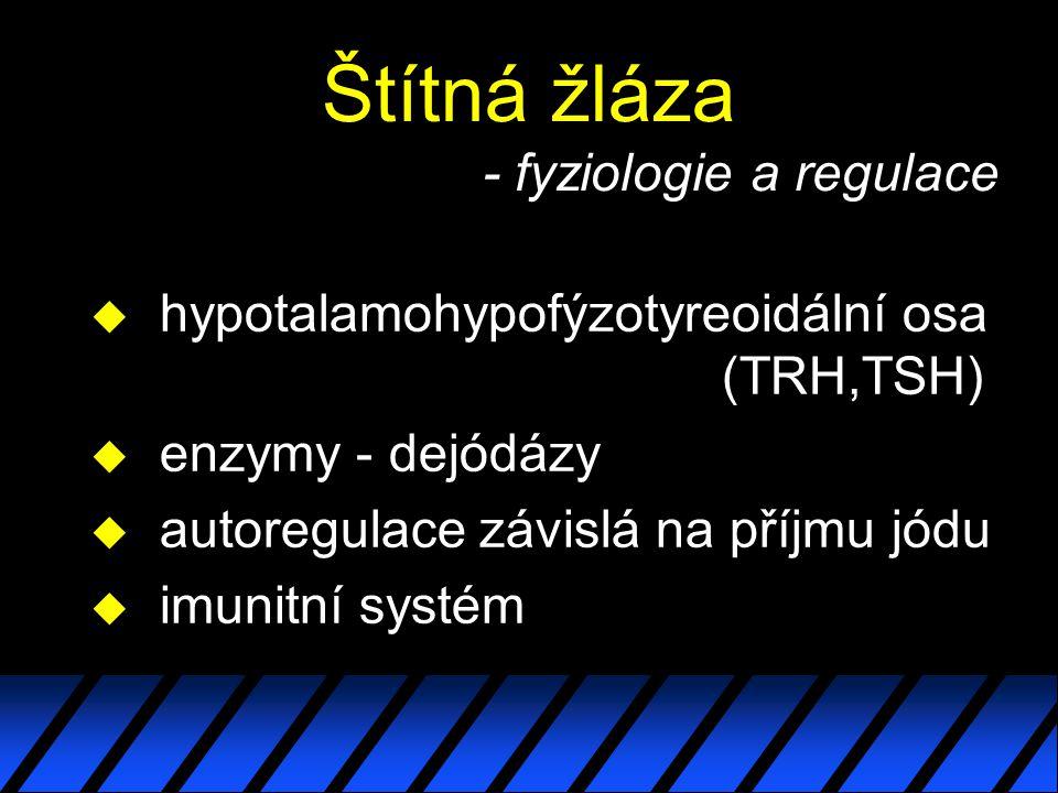 Štítná žláza - fyziologie a regulace u hypotalamohypofýzotyreoidální osa (TRH,TSH) u enzymy - dejódázy u autoregulace závislá na příjmu jódu u imunitní systém