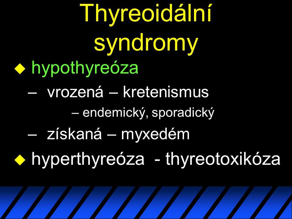 Thyreoidální syndromy u hypothyreóza – vrozená – kretenismus – endemický, sporadický – získaná – myxedém u hyperthyreóza - thyreotoxikóza
