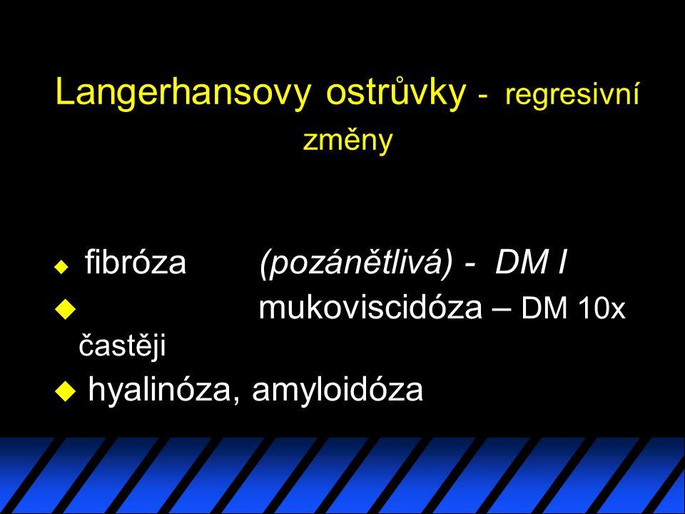 Langerhansovy ostrůvky - regresivní změny u fibróza (pozánětlivá) - DM I u mukoviscidóza – DM 10x častěji u hyalinóza, amyloidóza