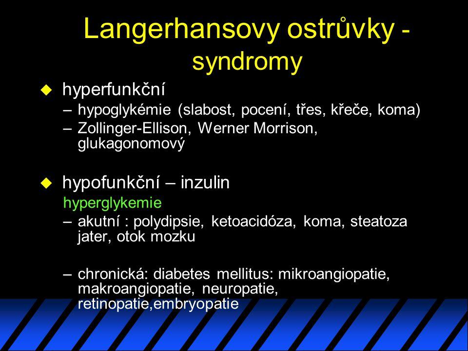 Langerhansovy ostrůvky - syndromy u hyperfunkční –hypoglykémie (slabost, pocení, třes, křeče, koma) –Zollinger-Ellison, Werner Morrison, glukagonomový u hypofunkční – inzulin hyperglykemie –akutní : polydipsie, ketoacidóza, koma, steatoza jater, otok mozku –chronická: diabetes mellitus: mikroangiopatie, makroangiopatie, neuropatie, retinopatie,embryopatie