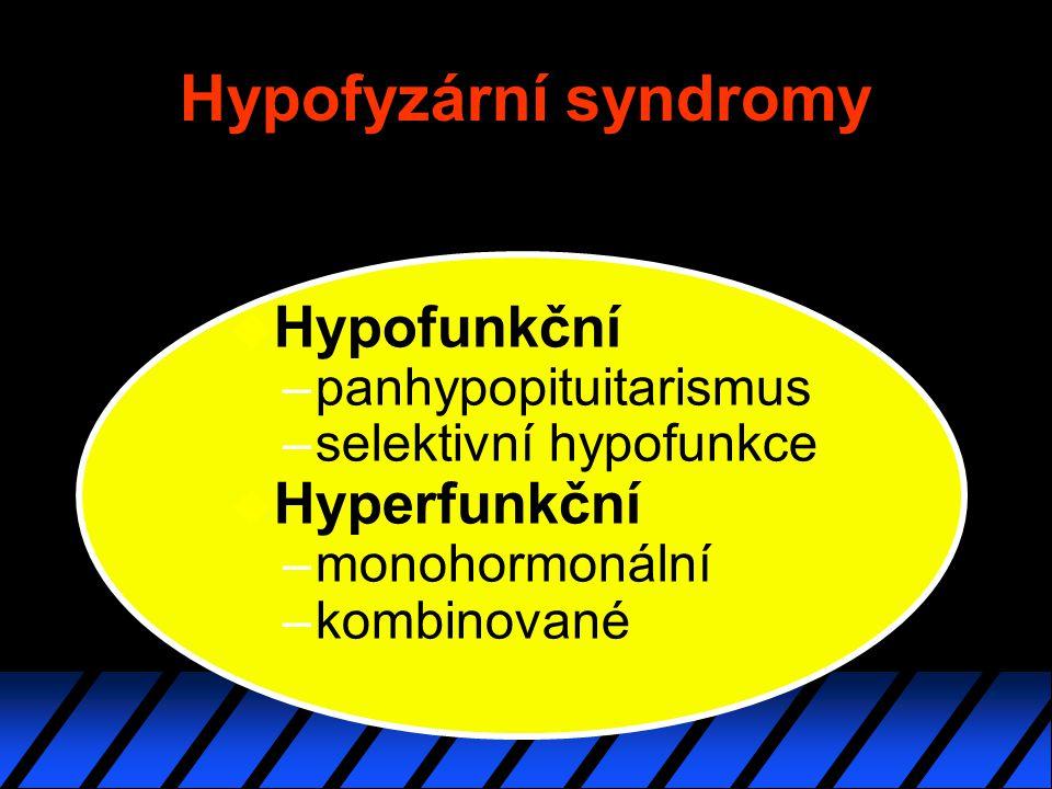 Hypofyzární syndromy u Hypofunkční –panhypopituitarismus –selektivní hypofunkce u Hyperfunkční –monohormonální –kombinované