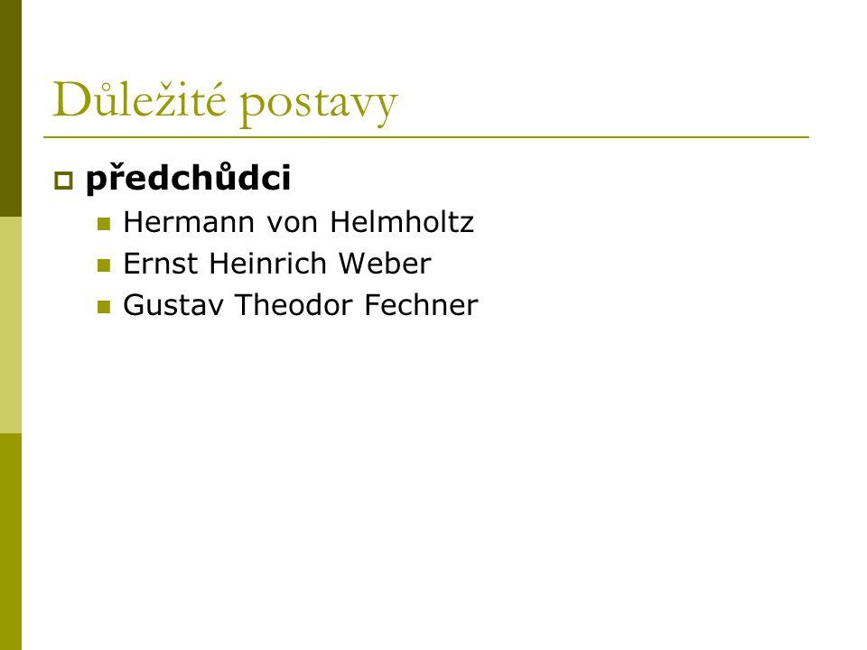 Důležité postavy  předchůdci Hermann von Helmholtz Ernst Heinrich Weber Gustav Theodor Fechner
