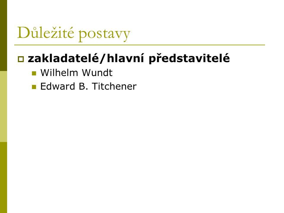 Důležité postavy  zakladatelé/hlavní představitelé Wilhelm Wundt Edward B. Titchener
