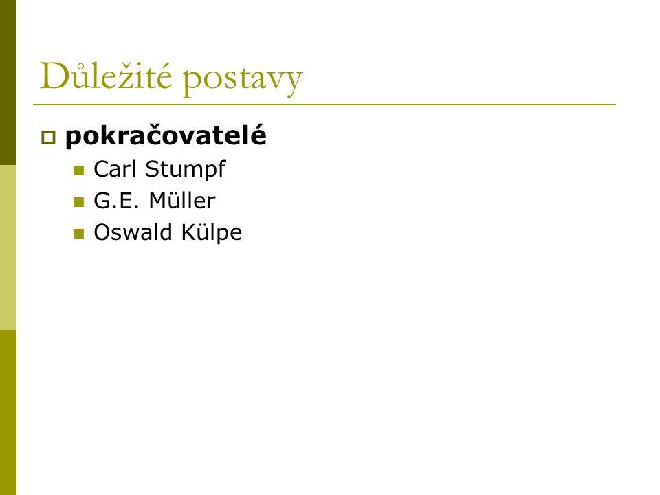 Důležité postavy  pokračovatelé Carl Stumpf G.E. Müller Oswald Külpe