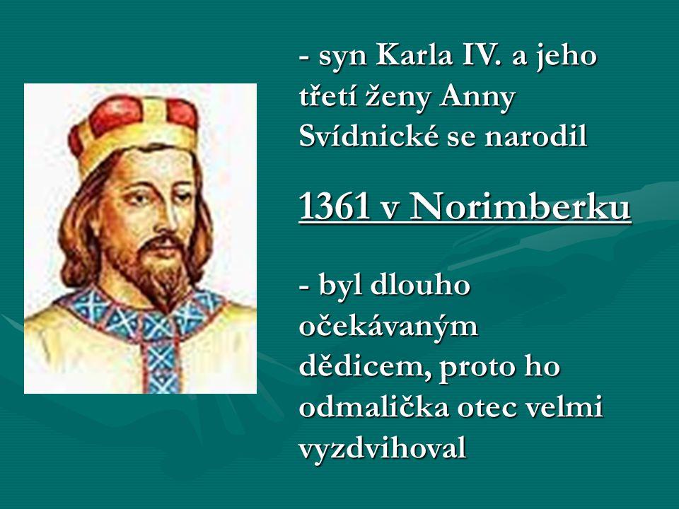 - ve 2 letech ho otec nechal korunovat českým králem, v 15 letech ho prosadil na krále Svaté říše římské - už v dětství učil Václava vládnout, ukazoval mu státní a vladařské povinnosti, v 7 letech předsedal zemskému sněmu