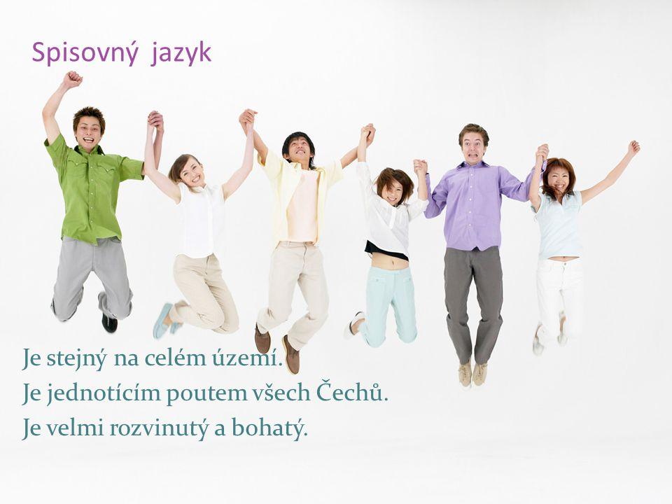 Spisovný jazyk Je stejný na celém území. Je jednotícím poutem všech Čechů.