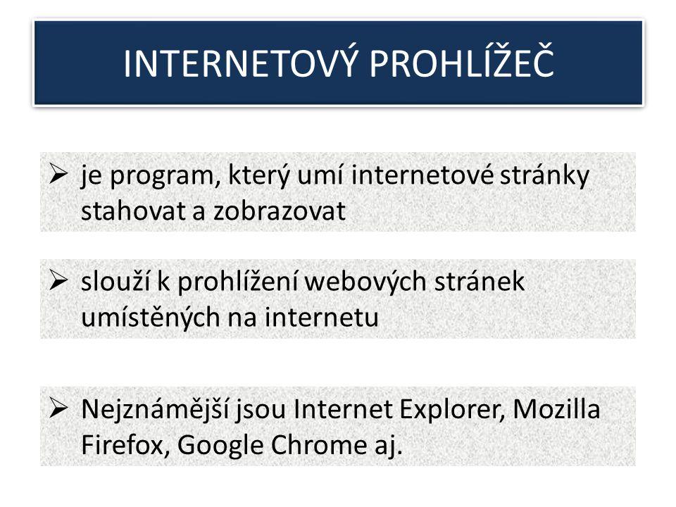 INTERNETOVÝ PROHLÍŽEČ  je program, který umí internetové stránky stahovat a zobrazovat  slouží k prohlížení webových stránek umístěných na internetu  Nejznámější jsou Internet Explorer, Mozilla Firefox, Google Chrome aj.