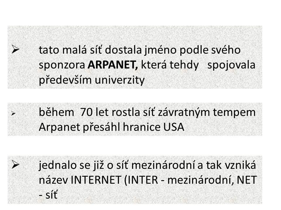  tato malá síť dostala jméno podle svého sponzora ARPANET, která tehdy spojovala především univerzity  během 70 let rostla síť závratným tempem Arpanet přesáhl hranice USA  jednalo se již o síť mezinárodní a tak vzniká název INTERNET (INTER - mezinárodní, NET - síť